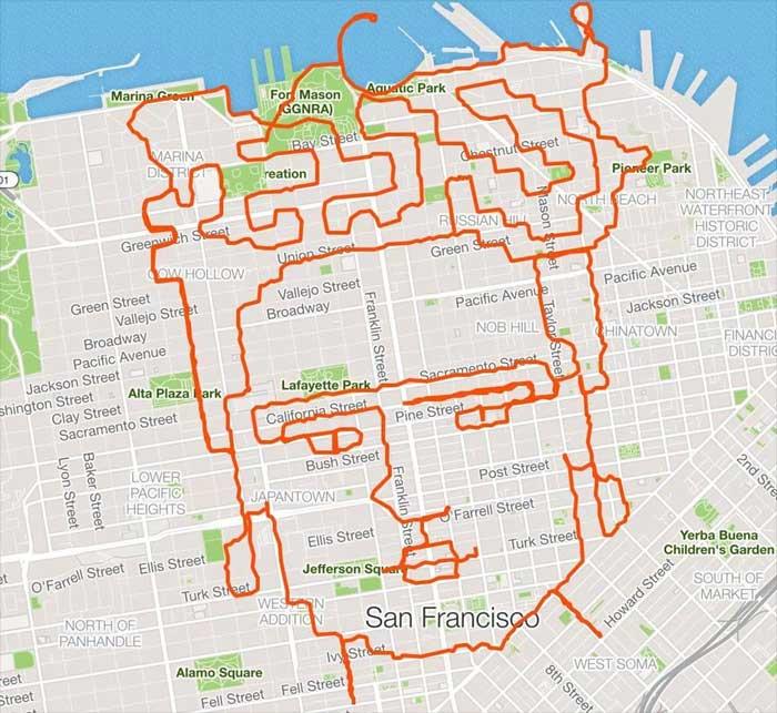 Runner corre y dibuja en su recorrido